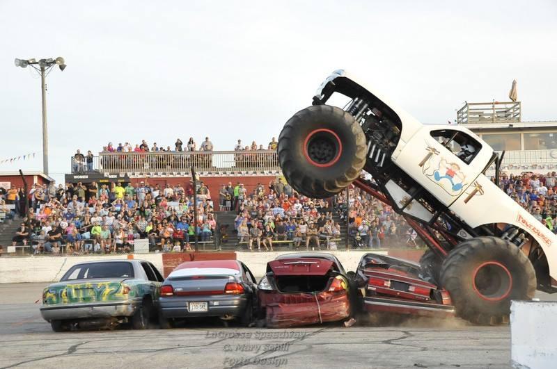 monster truck smashing cars